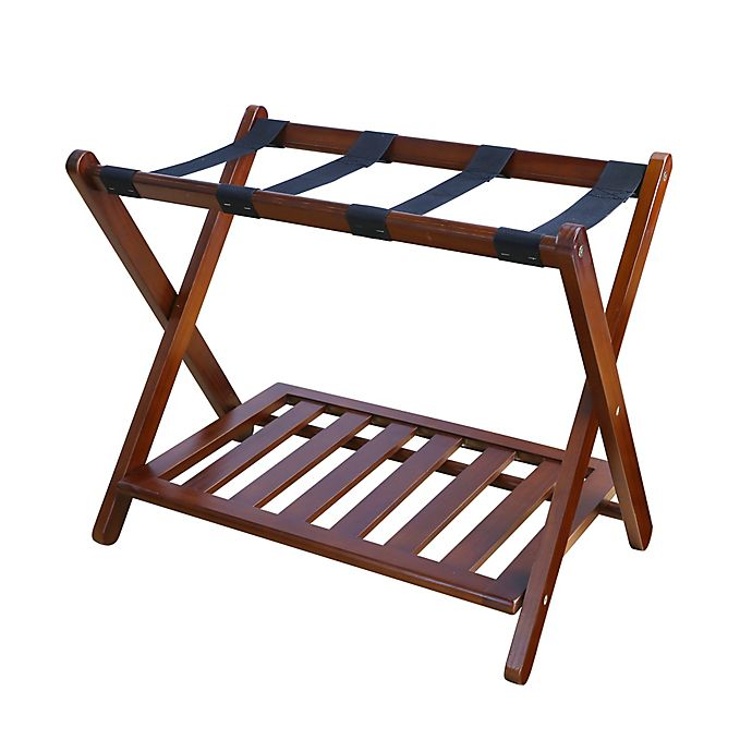 Alternate image 1 for Hotel-Style Folding Luggage Rack with Shelf in Walnut