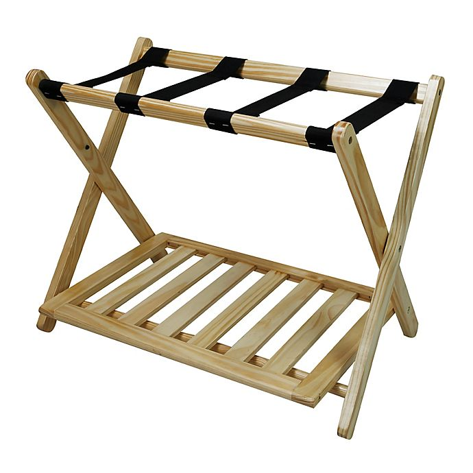 Alternate image 1 for Hotel-Style Folding Luggage Rack with Shelf