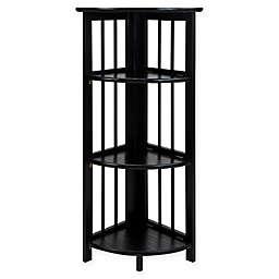 Casual Home 4-Shelf Corner Folding Bookcase in Black