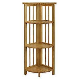 Casual Home 4-Shelf Corner Folding Bookcase in Natural