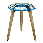 Faux Agate Accent Table in Blue