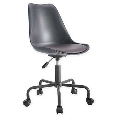 Linon Home PU Slope Office Chair in Grey