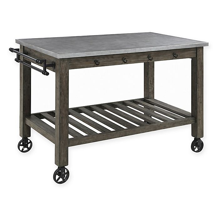 Industrial Kitchen Island With Casters In Gunmetal Bed Bath Beyond