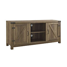 Forest Gate Wheatland Barn Door 58-Inch TV Stand with Side Doors in Rustic Oak