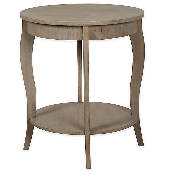 Stylecraft Round Accent Table In Distressed Grey Bed