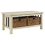Forest Gate 40  Contemporary Wood Storage Coffee Table with Totes in White Oak