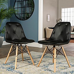 Forest Gate Mid-Century Modern Tufted Faux Leather Chairs (Set of 2)