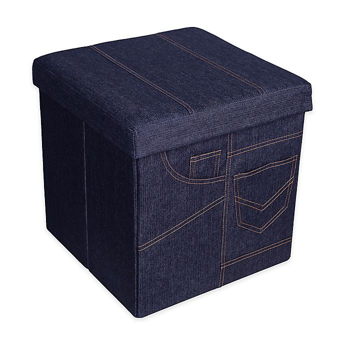 Incredible Danya B Folding Storage Ottoman With Pockets In Denim Bed Gamerscity Chair Design For Home Gamerscityorg