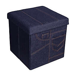 Danya B™ Folding Storage Ottoman with Pockets in Denim