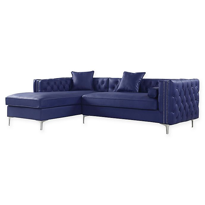 Wondrous Chic Home Picasso Left Facing Faux Leather Sectional Sofa In Navy Uwap Interior Chair Design Uwaporg