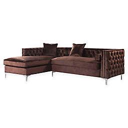 Chic Home Picasso Left-Facing Velvet Sectional Sofa