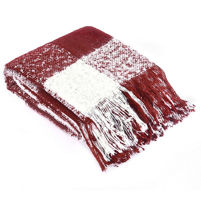 Alternate image 1 for Brielle Faux Mohair Throw Blanket in Red