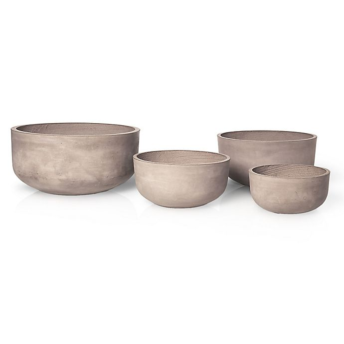 Alternate image 1 for Blomus Planta Round Clay Indoor/Outdoor Planters in Terracotta Brown (Set of 4)