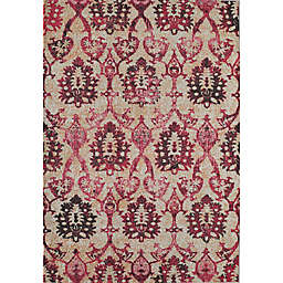 Rugs America Beverly Ikat Loomed Accent Rug in Ivory/Fuchsia