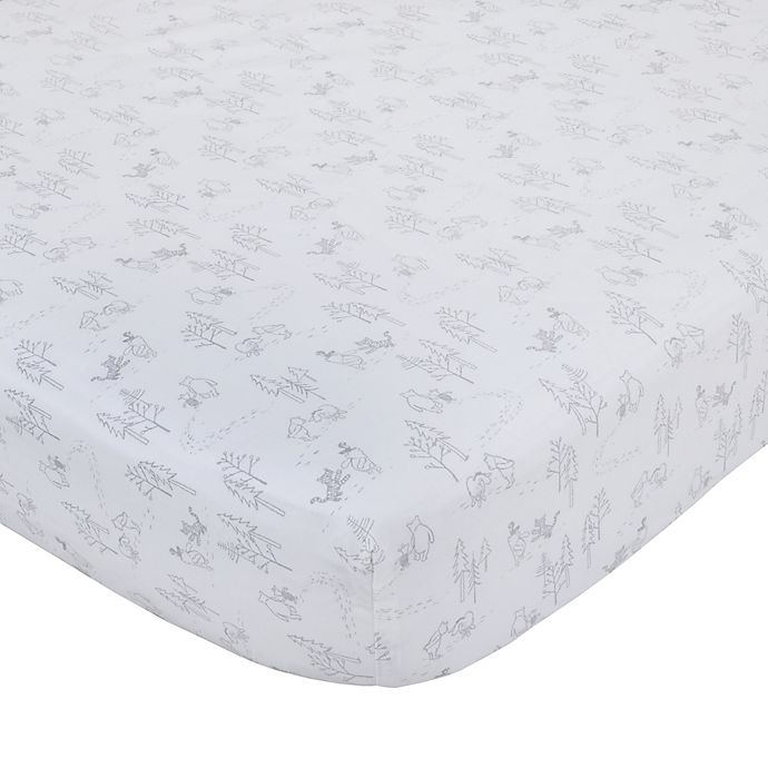 Alternate image 1 for Disney® Classic A Day With Pooh Fitted Crib Sheet in Grey