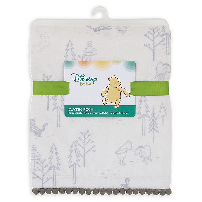 Alternate image 1 for Disney® Classic A Day With Pooh Plush Blanket in Grey