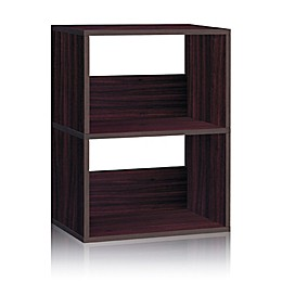 Way Basics Tool-Free Assembly 2-Shelf Duplex Bookcase and Storage Shelf in Espresso Wood Grain