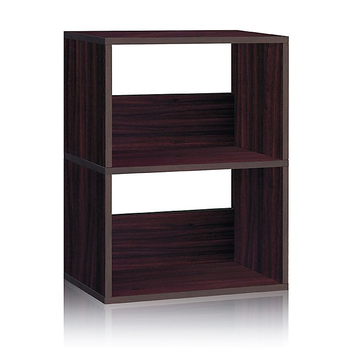 Alternate image 1 for Way Basics Tool-Free Assembly 2-Shelf Duplex Bookcase and Storage Shelf in Espresso Wood Grain