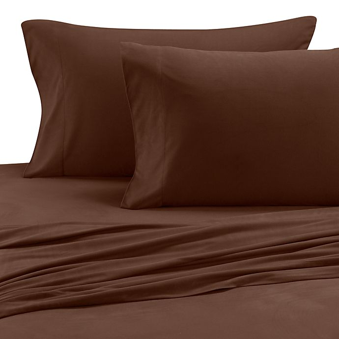 Alternate image 1 for Micro Flannel® Solid Queen Sheet Set in Chocolate