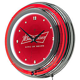 Budweiser™ Bowtie Double Rung Neon Wall Clock in Red