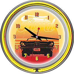 Ford Double Rung Neon Wall Clock in Orange