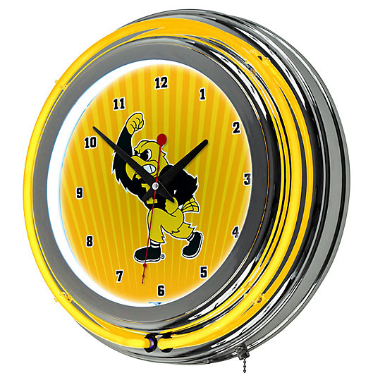 Alternate image 1 for University of Iowa Double Ring Neon Light Wall Clock in Chrome