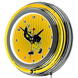 University of Iowa Double Ring Neon Light Wall Clock in Chrome