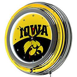 University of Iowa Double Rung Neon Wall Clock in Orange