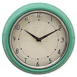 9.5-Inch Round Metal Wall Clock in Aqua