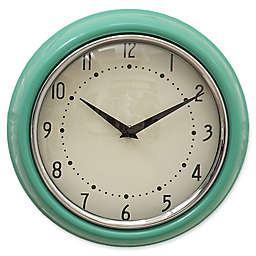 9.5-Inch Round Metal Wall Clock in Aqua