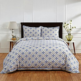 Amity Home Ike Duvet Cover in Blue/Taupe