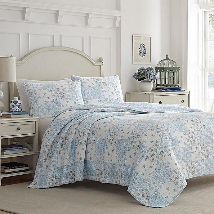 Alternate image 1 for Laura Ashley Kenna Reversible King Quilt Set in Light Blue
