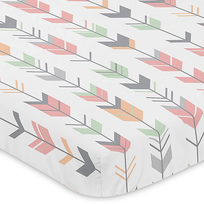 Alternate image 1 for Sweet Jojo Designs Mod Arrow Mini-Crib Sheet in Coral/Mint