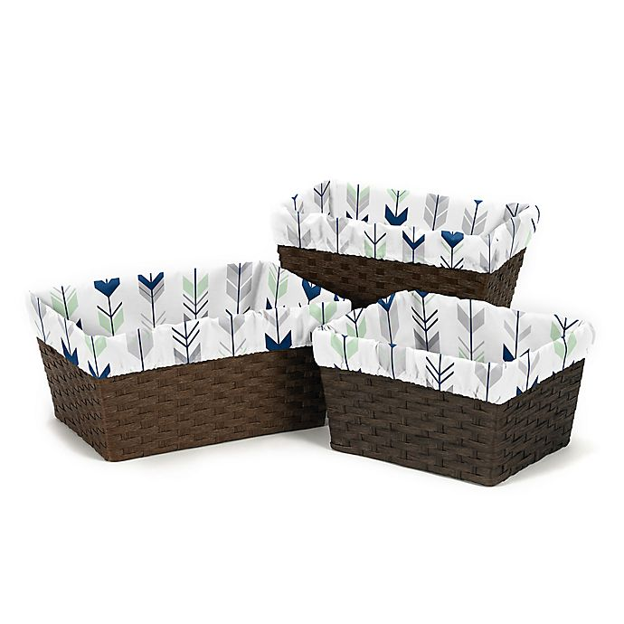 Alternate image 1 for Sweet Jojo Designs Mod Arrow Basket Liners in Grey/Mint (Set of 3)