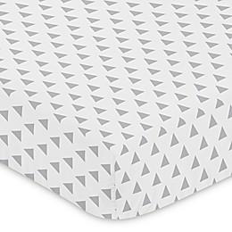 Sweet Jojo Designs® Mod Arrow Triangle Print Fitted Crib Sheet in Grey/White