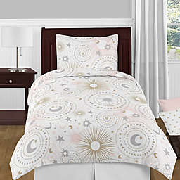 Sweet Jojo Designs Celestial Bedding Set in Pink/Gold