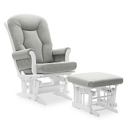 Dutailier® Victoria Reclining Glider and Ottoman in Grey/White