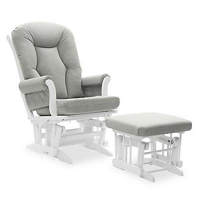Dutailier® Victoria Reclining Glider and Ottoman in Grey/White