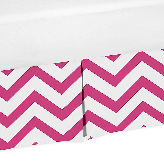 Alternate image 1 for Sweet Jojo Designs Chevron Crib Skirt in Pink/White