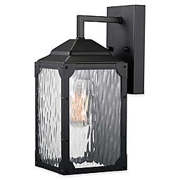Globe Electric Miller 1-Light Indoor/Outdoor Wall Sconce in Matte Black with Glass Shade