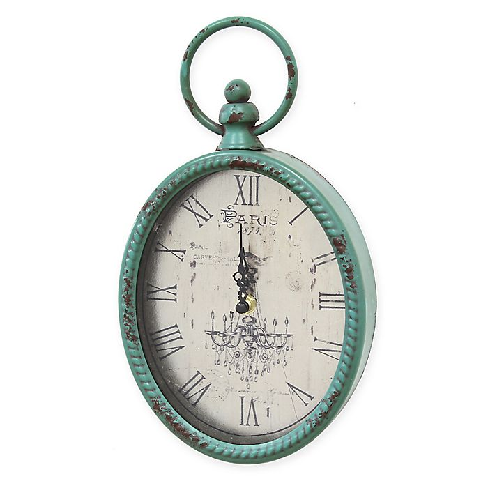 Alternate image 1 for Stratton Home Decor 11.5-Inch x 6.75-Inch Antique Wall Clock in Teal