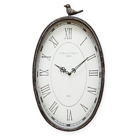 Alternate image 1 for Stratton Home Decor 19.25-Inch x 10.75-Inch Antique Wall Clock in Teal