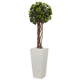 Nearly Natural 3-Foot English Ivy Ball Tree with White Tower Planter