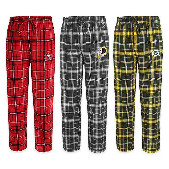 Cheap NFL Men's Flannel Plaid Pajama Pant with Left Leg Team Logo