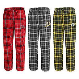 NFL Men's Flannel Plaid Pajama Pant with Left Leg Team Logo Collection