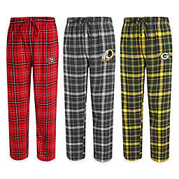 NFL Men's Flannel Plaid Pajama Pant with Left Leg Team Logo Collection