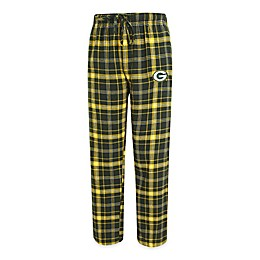 NFL Green Bay Packers Men's Flannel Plaid Pajama Pant with Left Leg Team Logo