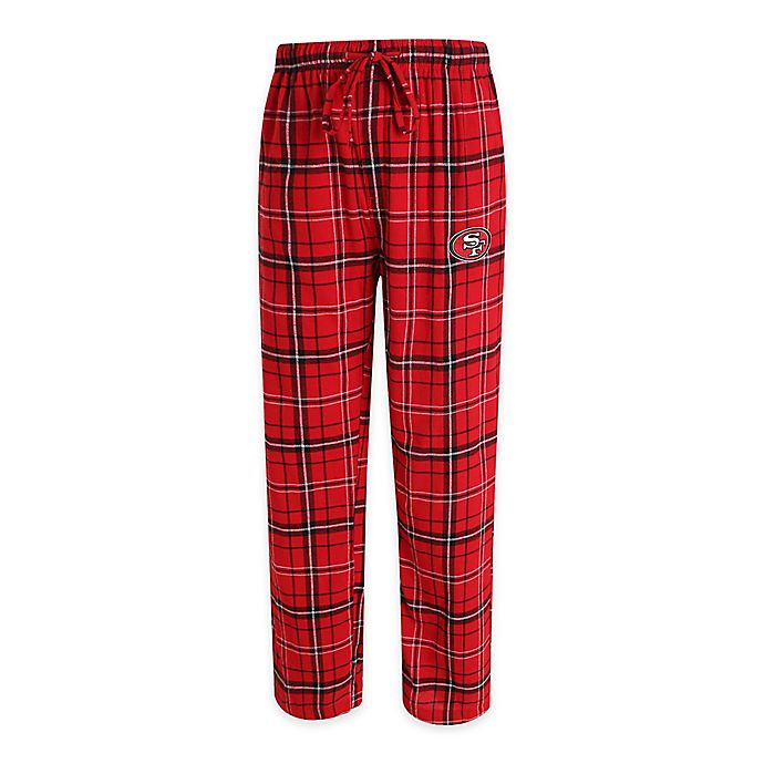 Alternate image 1 for NFL San Francisco 49ers Men's Small Flannel Plaid Pajama Pant with Left Leg Team Logo