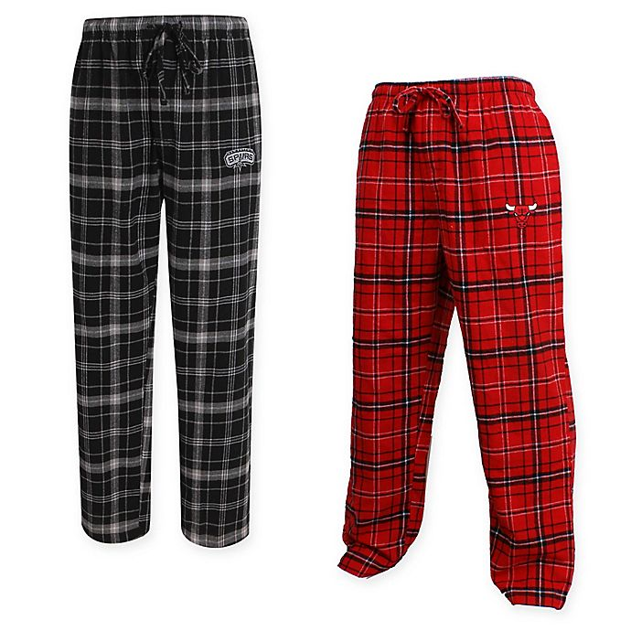Alternate image 1 for NBA Men's Flannel Plaid Pajama Pant with Left Leg Team Logo Collection
