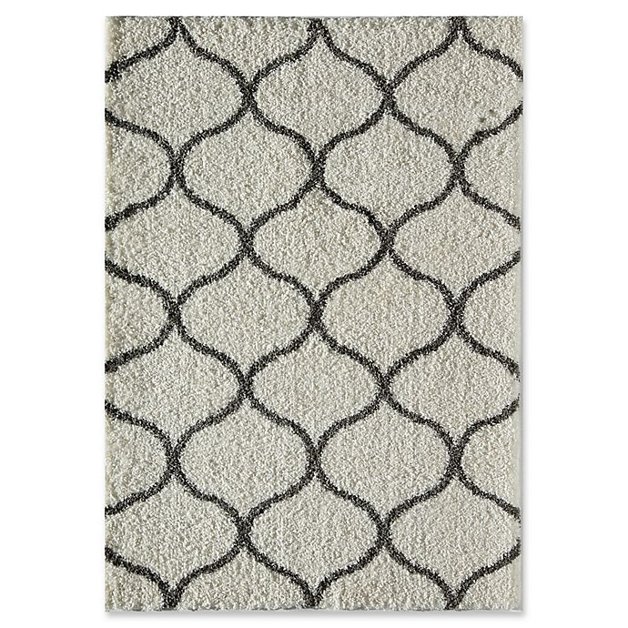 Alternate image 1 for Rugs America Links 8' x 10' Shag Area Rug in Ivory/Charcoal